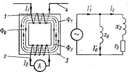 Принципиальная схема трансформатора тока, схема замещения трансформатора тока
